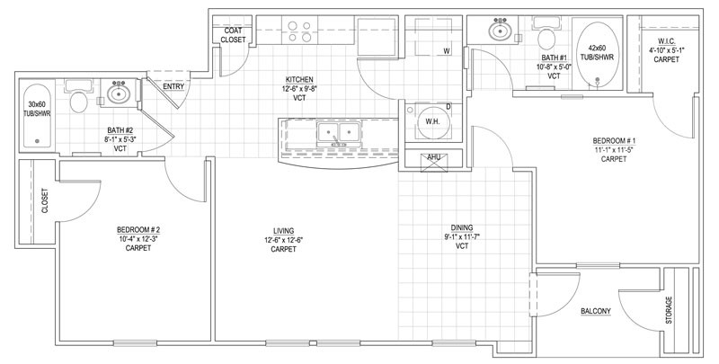 930 sq. ft. 60% floor plan