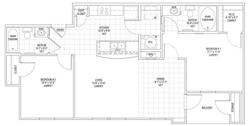930 sq. ft. 50% floor plan