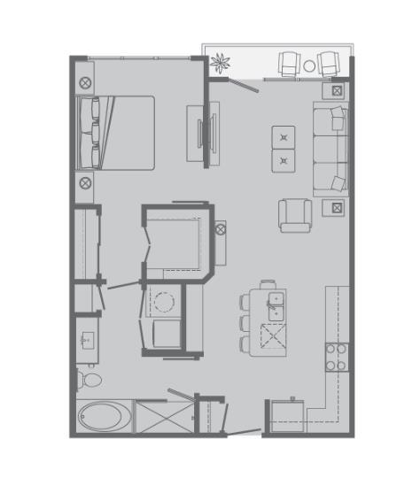 758 sq. ft. B floor plan