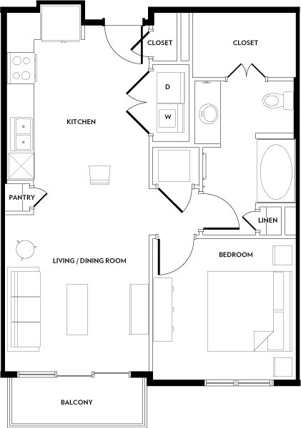 699 sq. ft. A3 floor plan