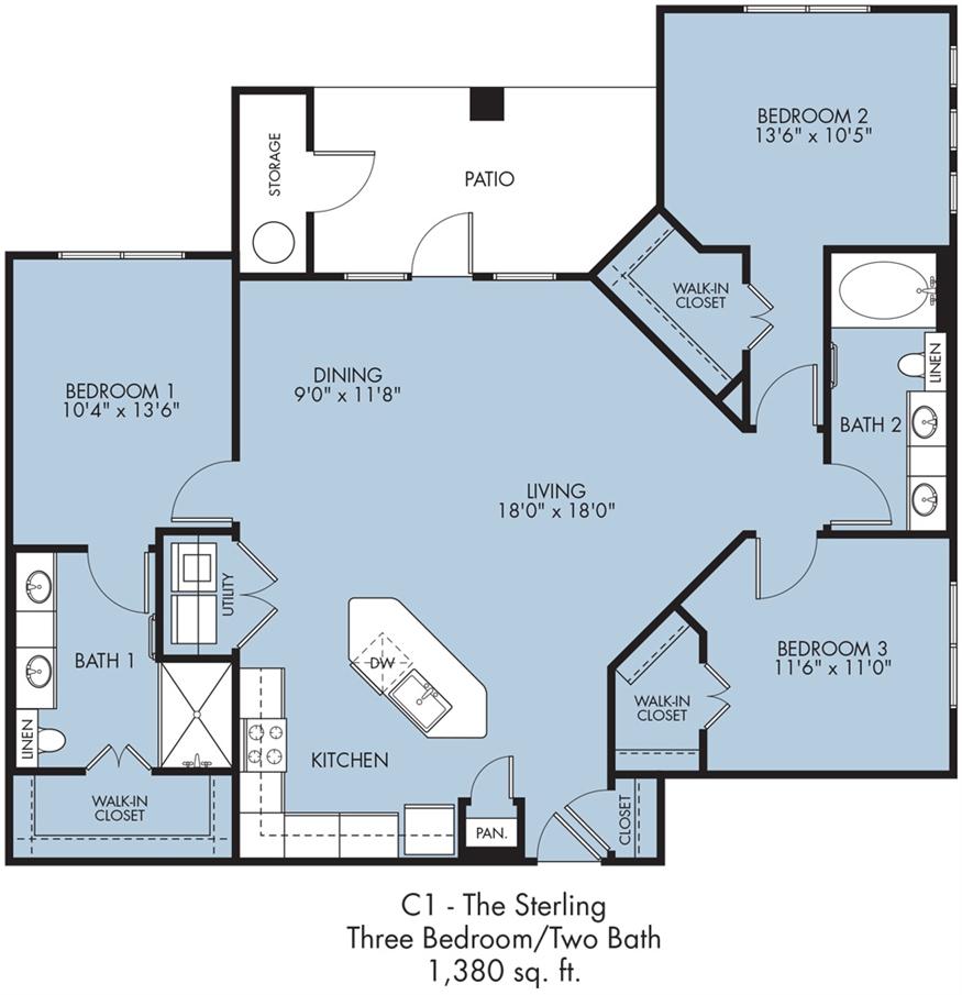 1,380 sq. ft. Sterling floor plan