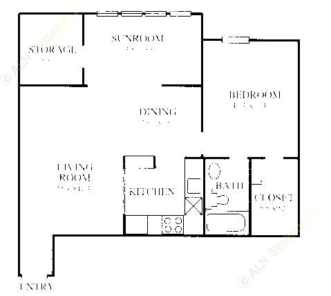807 sq. ft. A5 floor plan