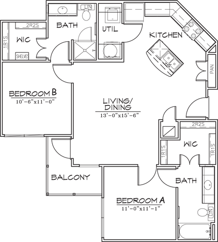 934 sq. ft. floor plan