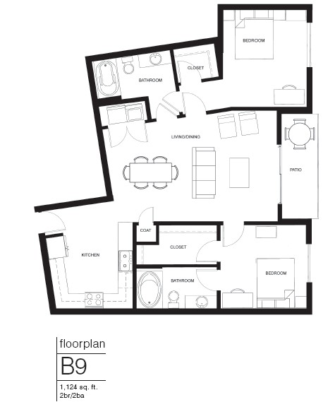 1,124 sq. ft. B9 floor plan