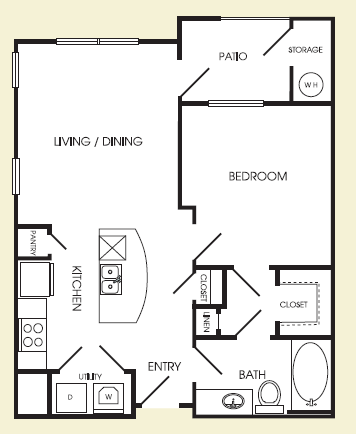 618 sq. ft. York floor plan