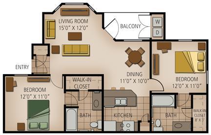 933 sq. ft. Luckenbach floor plan