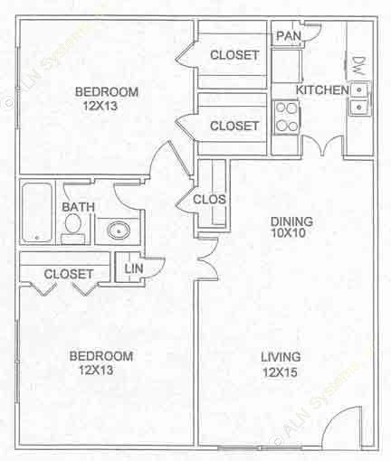 877 sq. ft. B-2-D floor plan
