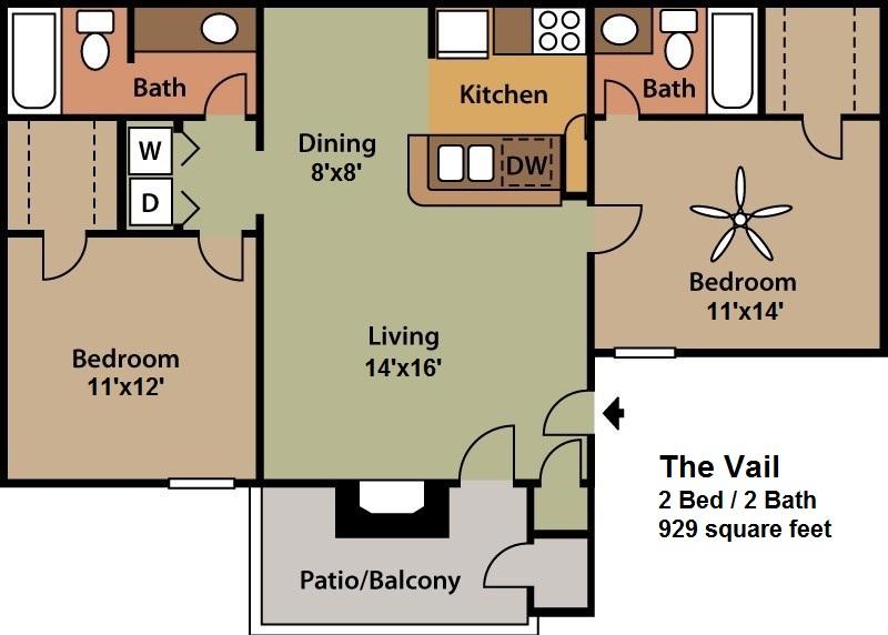 929 sq. ft. Vail floor plan