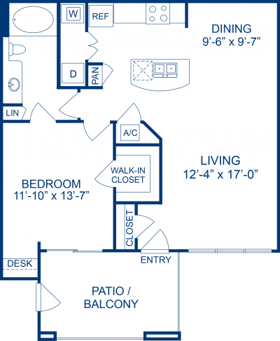 823 sq. ft. A4 floor plan