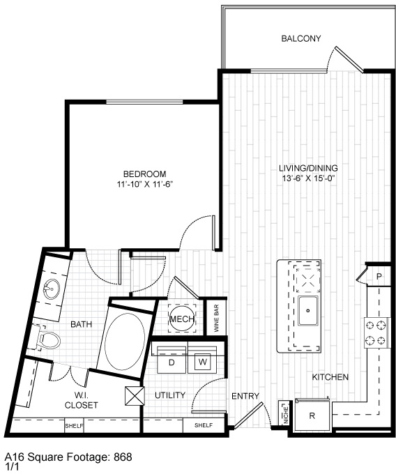 858 sq. ft. A3.2 floor plan