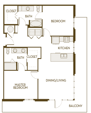 1,135 sq. ft. B2D floor plan