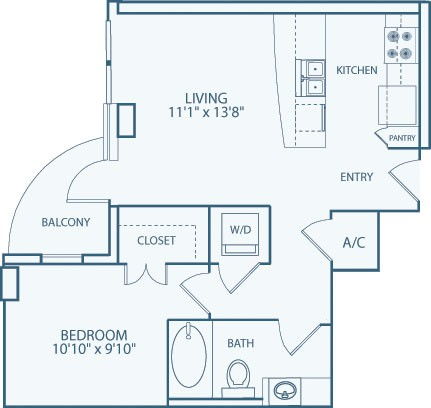 609 sq. ft. A3 floor plan
