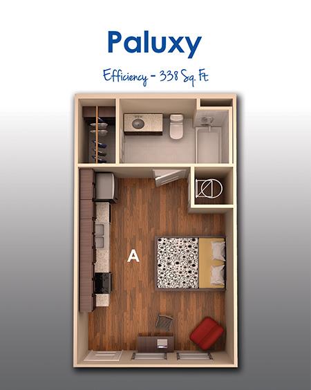 338 sq. ft. Eff floor plan