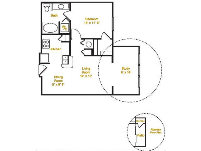 755 sq. ft. A1/Study floor plan