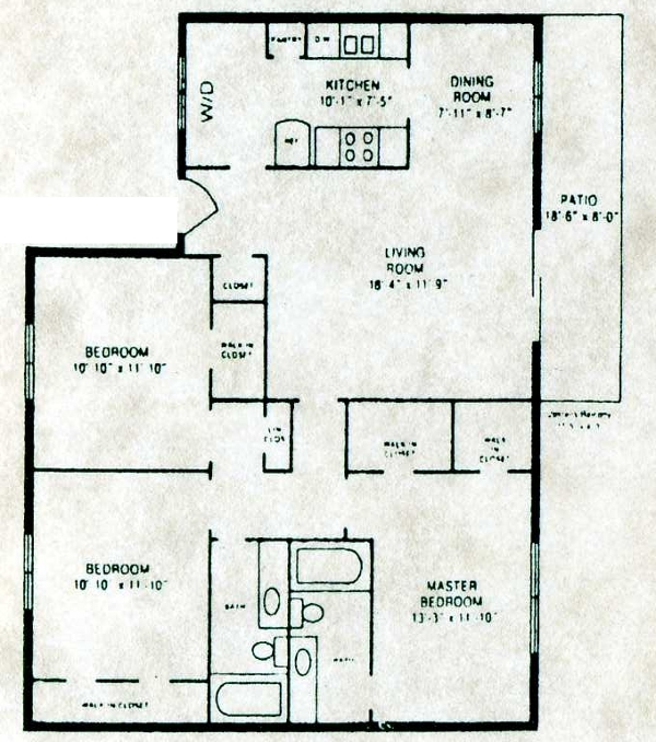 1,250 sq. ft. C-1 W/D floor plan
