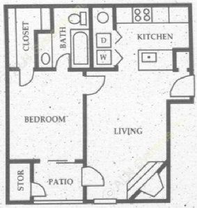 565 sq. ft. A3 floor plan
