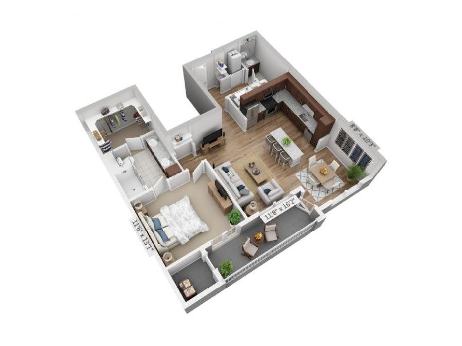 889 sq. ft. A4D floor plan