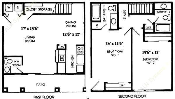 1,116 sq. ft. B4 floor plan