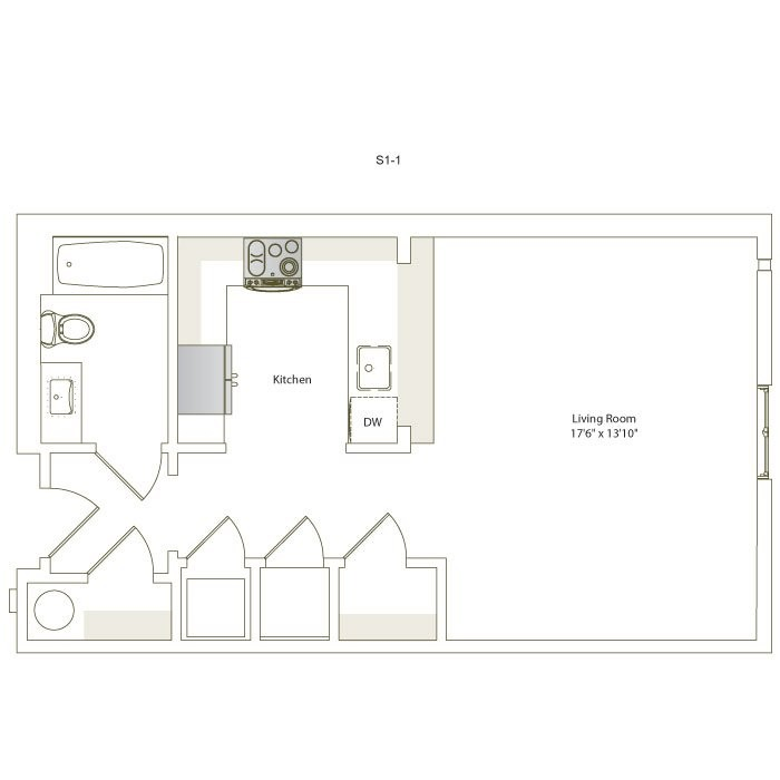 514 sq. ft. S1-1 floor plan