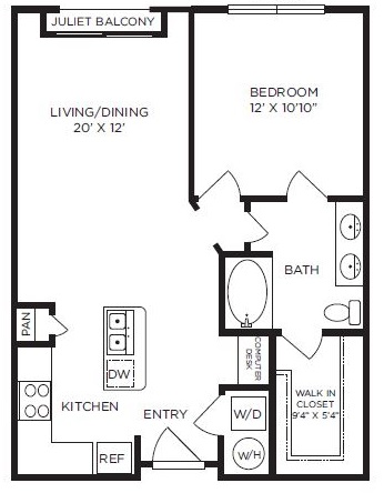 760 sq. ft. to 819 sq. ft. Westminster floor plan