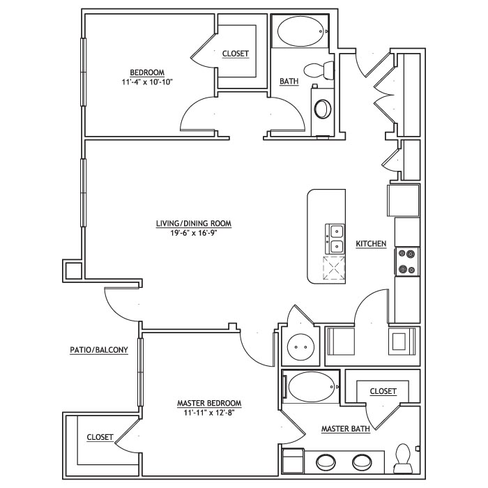 1,176 sq. ft. B2 floor plan