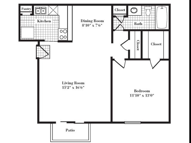 732 sq. ft. A3 III floor plan