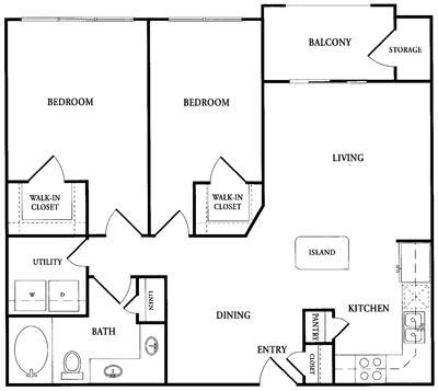 948 sq. ft. CB1 floor plan