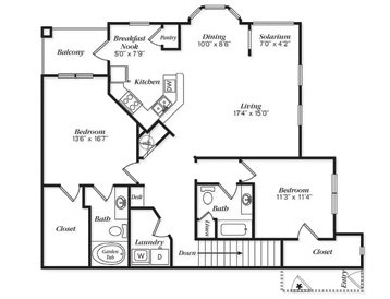 1,448 sq. ft. B2U/B2UG floor plan