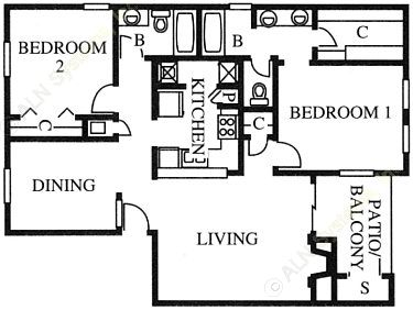 1,070 sq. ft. B2 floor plan