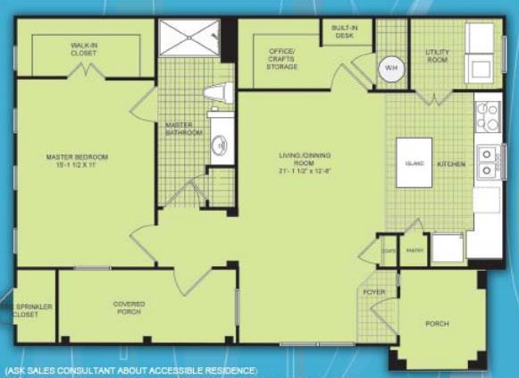 880 sq. ft. A2 MKT floor plan