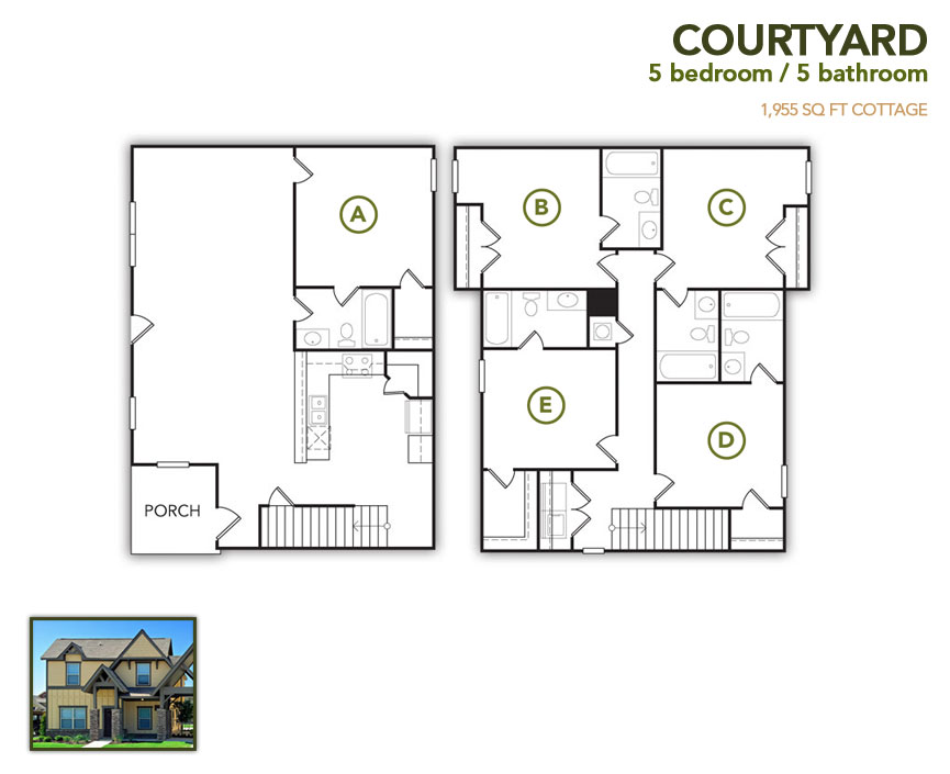 1,955 sq. ft. Courtyard floor plan