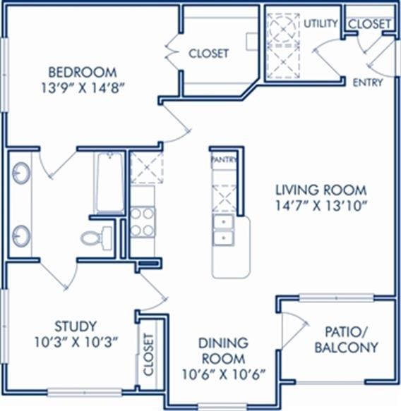 919 sq. ft. D floor plan
