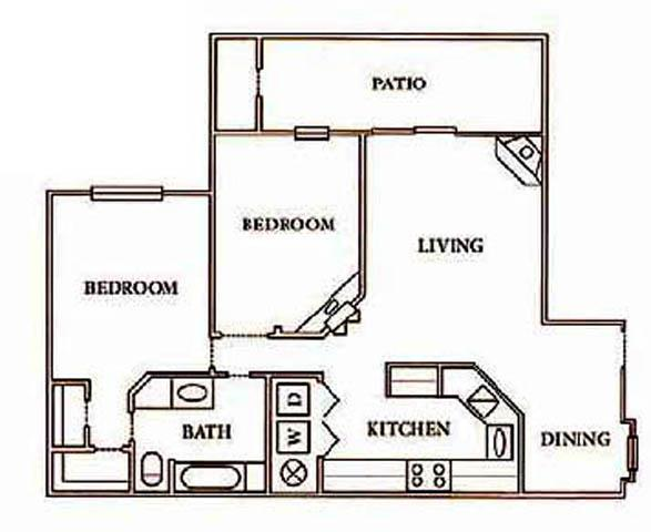 900 sq. ft. A3 Den floor plan