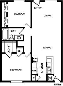 920 sq. ft. Castilla floor plan