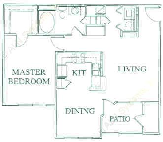 817 sq. ft. A3 floor plan