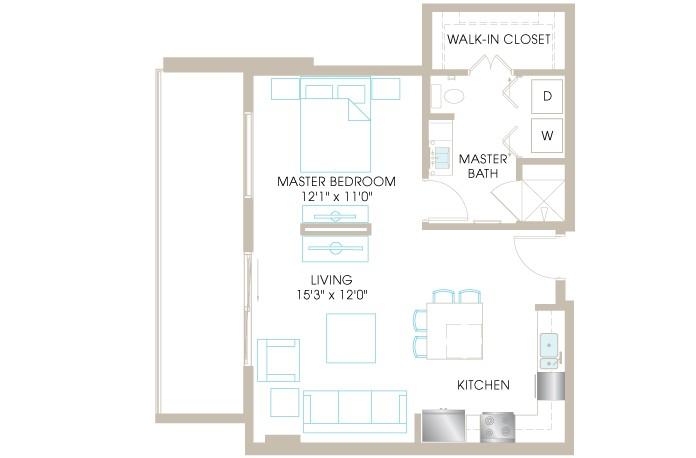 690 sq. ft. E1 floor plan