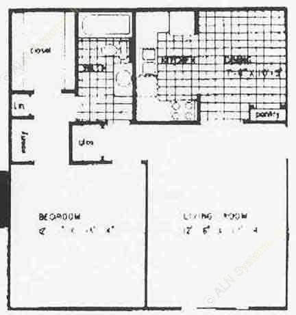 727 sq. ft. A3 floor plan