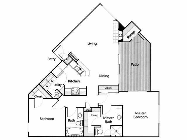 1,091 sq. ft. Guadalupe floor plan
