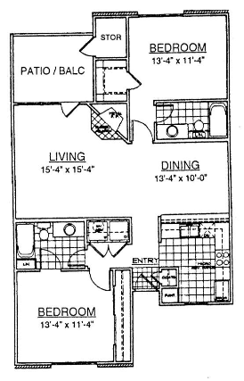 1,136 sq. ft. B2 floor plan