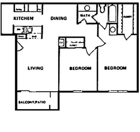 857 sq. ft. D floor plan
