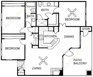 1,298 sq. ft. Cypress floor plan