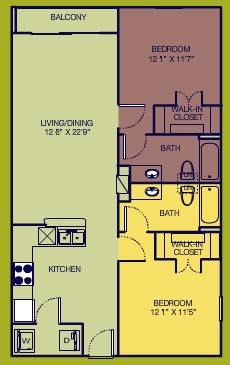 1,037 sq. ft. Deluxe floor plan