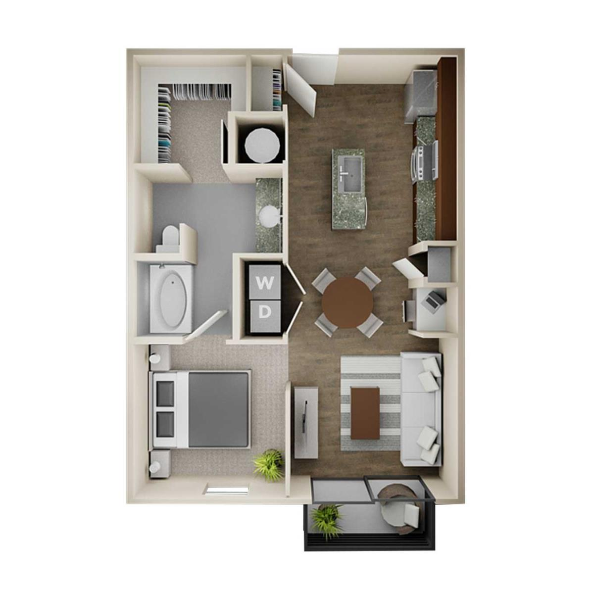 655 sq. ft. E1A floor plan