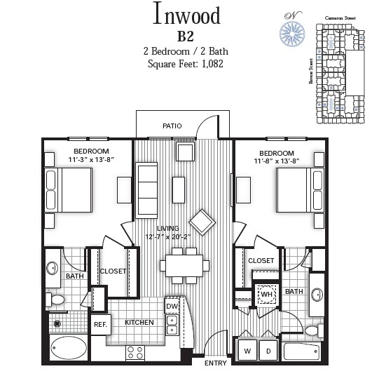 1,082 sq. ft. INWOOD floor plan