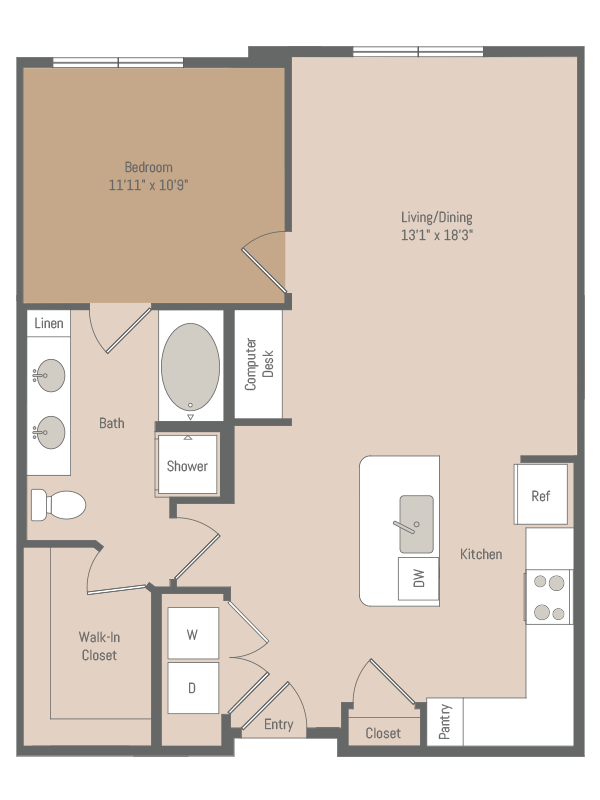 836 sq. ft. A1.4 floor plan
