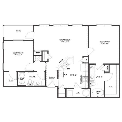 1,166 sq. ft. B1 floor plan