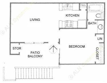 481 sq. ft. A1 floor plan