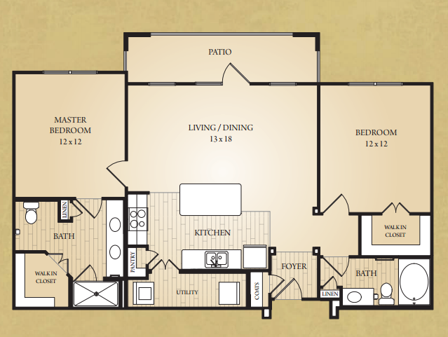 1,150 sq. ft. Pedernales floor plan