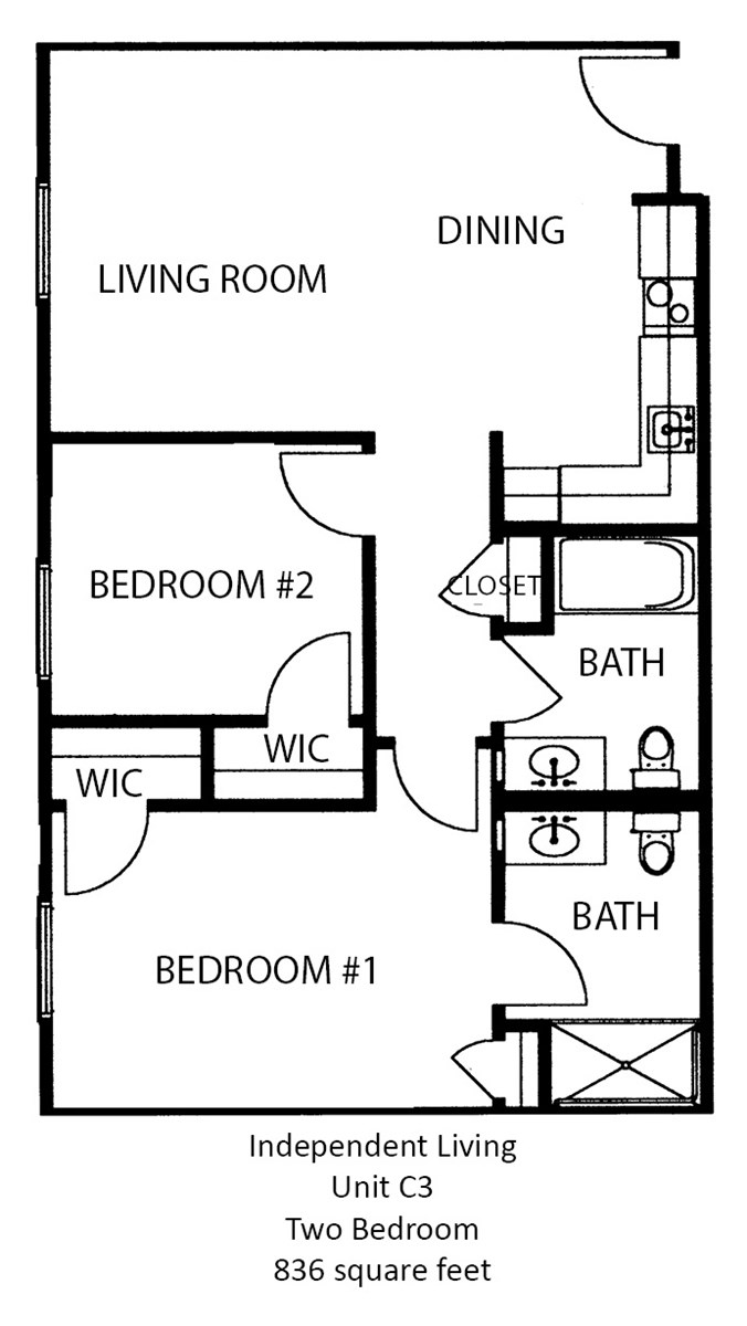 836 sq. ft. floor plan