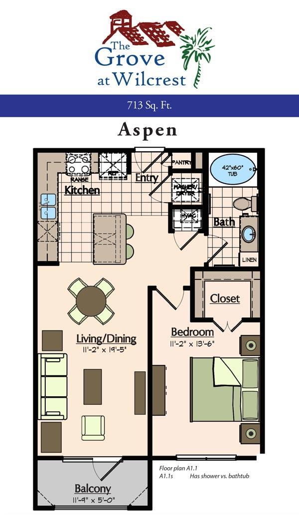 713 sq. ft. A1 floor plan